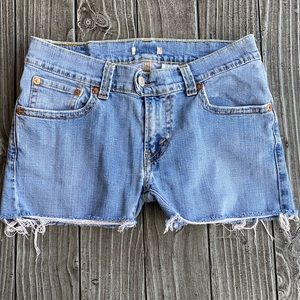 Distressed Ripped Low Rise Denim Blue Shorts